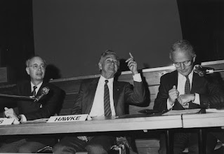 """Photo: DAVOS/SWITZERLAND, JAN 1987 - (fltr) Klaus Schwab and New Zealand Prime Minister Robert Hawke addressing the Annual Meeting of the World Economic Forum in Davos in 1987.Copyright <a href=""""http://www.weforum.org"""">World Economic Forum</a> (<a href=""""http://www.weforum.org"""">http://www.weforum.org</a>)"""