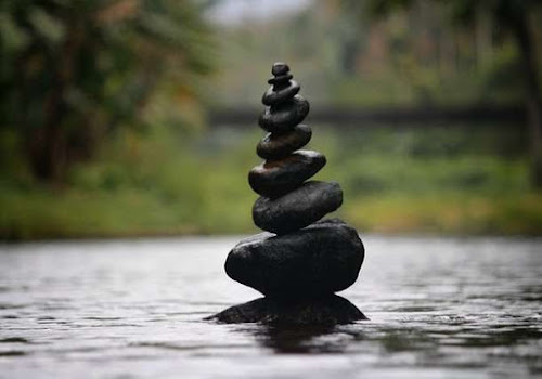 Rocks that represent the balance that can be achieved through meditation