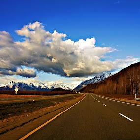 Alaska  by Stoyan Katinov - Landscapes Cloud Formations ( clouds, sky, alaska, road, landscape )