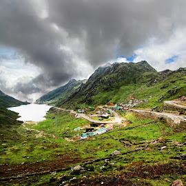 Serene view of the Tsongmo by Jasmine Nongrum - Landscapes Travel ( green, wanderlust, nature, sikkim, nature calling, travel photography, naturelove, tsongmo, nature trail, travel, lake, landscape, wideangle )