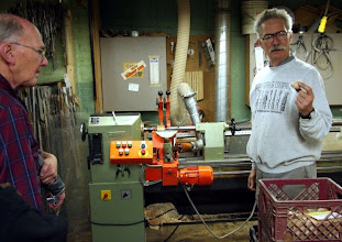 Photo: Mark demo's the German copy lathe.