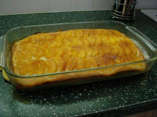 Peach Kuchen With Cinnamon Sugar Topping.
