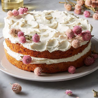 Carrot, Beet, & Parsnip Cake with Honey-Yogurt Frosting.
