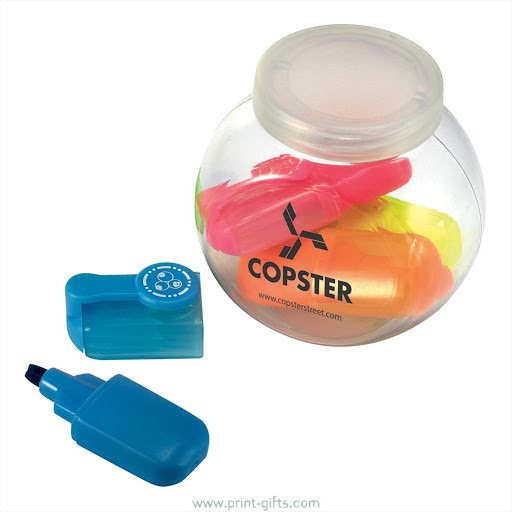 Promotional mini highlighter pens in a branded tub
