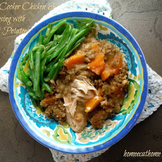 Slow Cooker Chicken and Stuffing with Sweet Potatoes