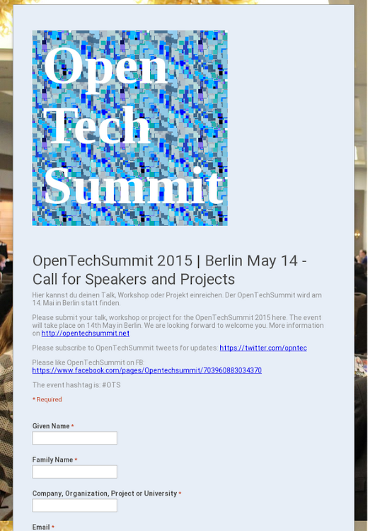 OpenTechSummit 2015 | Berlin May 14 - Call for Speakers and Projects