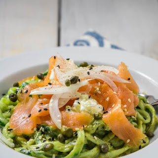 Creamy Avocado Cucumber Noodles with Smoked Salmon Recipe