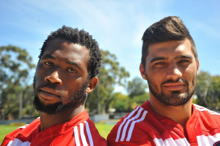 Damian de Allende and Siya Kolisi during the DHL Stormers media briefing at High Performance Centre on March 17, 2015 in Cape Town.