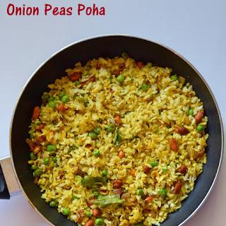 Onion Peas Poha Recipe- Kanda Poha