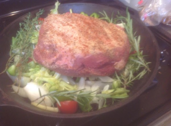 Nestle the roast down into the center of the dish till roast touches the...