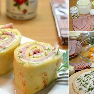 Pancake Rolls Stuffed With Ham And Cheese