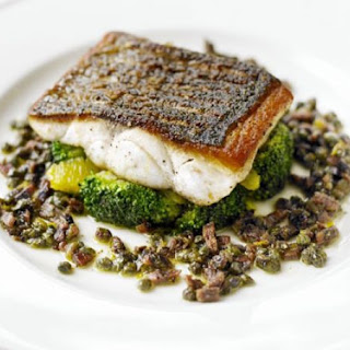 Pan-fried Sea Bass With Citrus-dressed Broccoli.