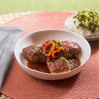 Basque-Style Lamb & Beef Piperade with Tinkerbell Peppers, Baby Leeks & Garlic Rice