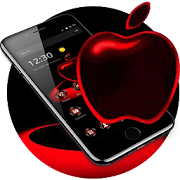 Red Neon Apple Dark Theme