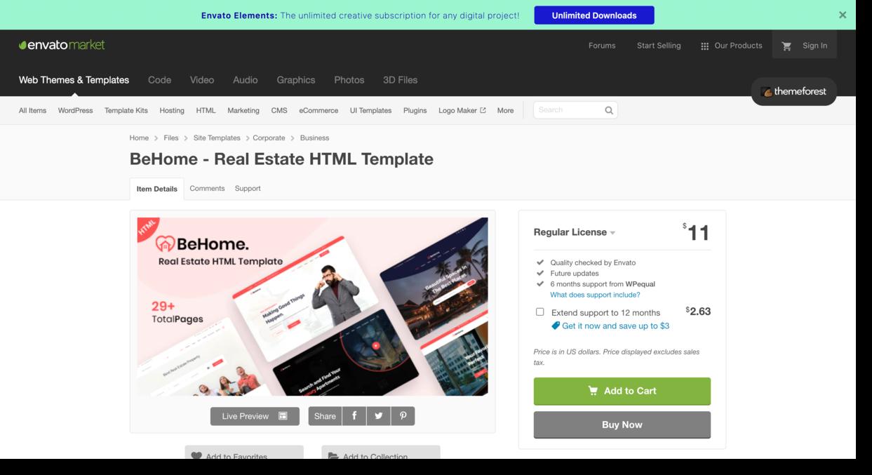 BeHome Template on envato market Real Estate Website Design