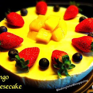 Non-Bake Healthy Mango Cheesecake.