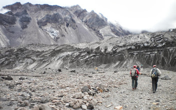 Photo: Approaching the toe of Crater Glacier - The glacier contains so much of the dark gray volcanic rock that it blends in with the crater.