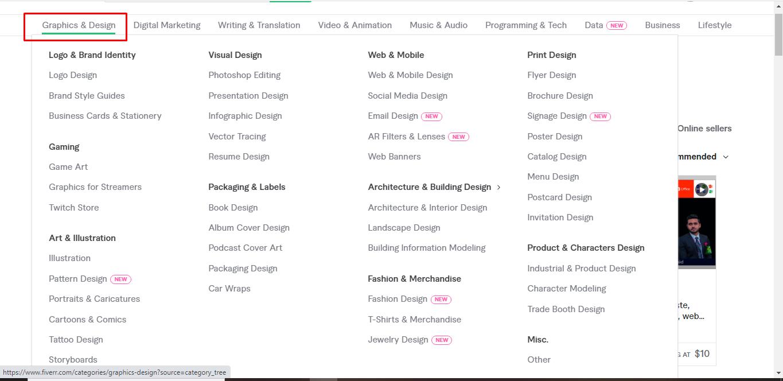 Screenshot of Fiverr's Graphic & Design jobs list, Freelancing on Fiverr