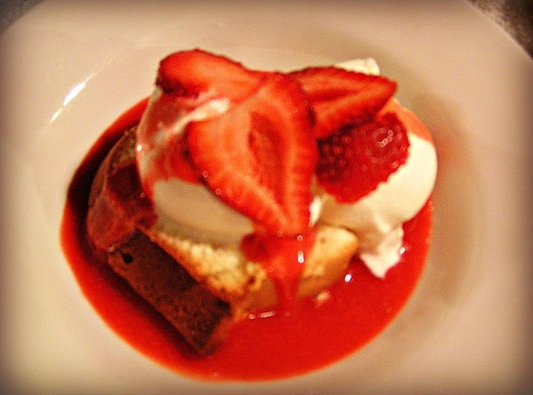 Cream Cheese Pound Cake With Strawberry Coulis Recipe