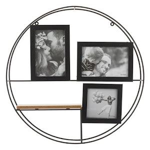 Rama foto decorativa, lemn si metal, cadru rotund 42 cm