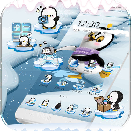 Cute Penguin Theme Ice Snow World