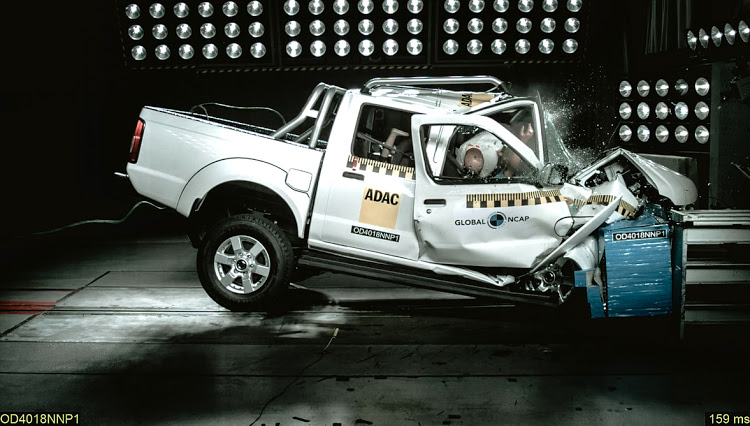 The Nissan NP300 being crash tested.