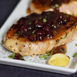 Pork Loin Steaks with Cranberry Tarragon Sauce.