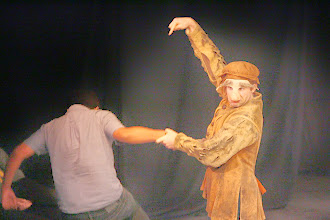 Photo: Launcelot and Conscience, Merchant of Venice, Shakespeare Center Los Angeles. Photo, Michael Lamont.