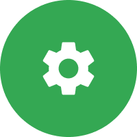 Gear cicle icon with green background.
