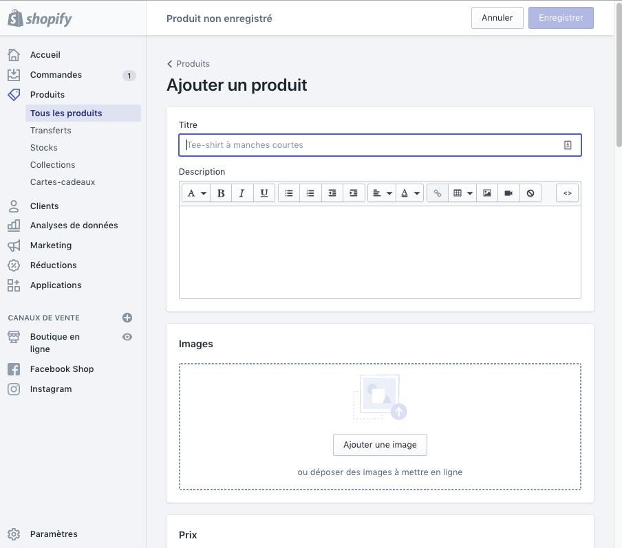 ajouter un produit sur shopify