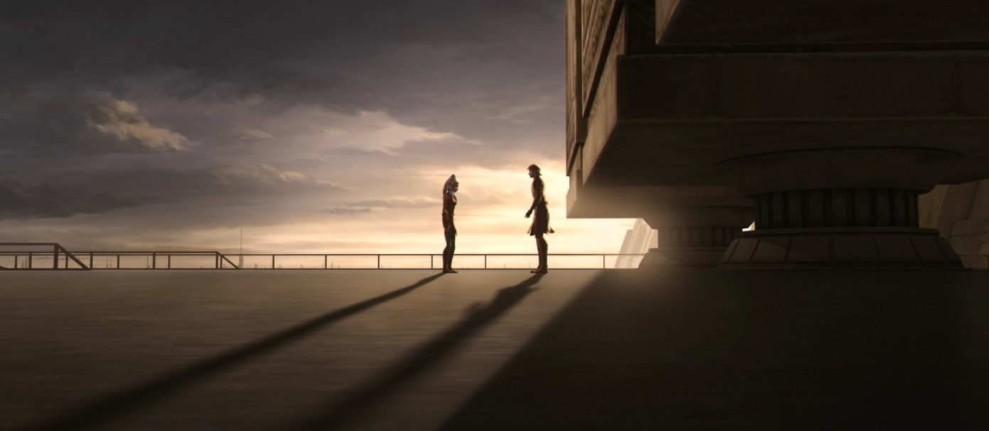 Anakin is reaching out to Ahsoka as she leaves the Jedi temple.