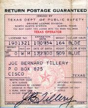 Photo: Joe Bernard Tillery's drivers license 11953