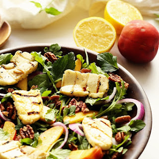 Arugula Peach and Halloumi Salad