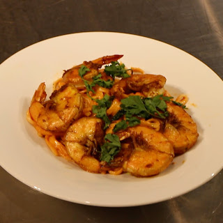 Curry Spiced Shrimp w/ Red Curry Cream Udon