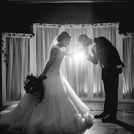 charming by Holly Johnson - Wedding Bride & Groom ( love, bride and groom, indoor lighting, backlighting, wedding )