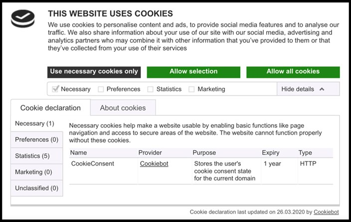 Cookiebot and EDPB guidelines compliance.