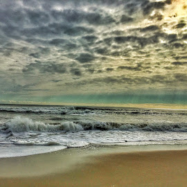 God's beauty by Rob King - Landscapes Beaches ( clouds, water, sand, wave, sea, ocean, seascape, rays, crash )