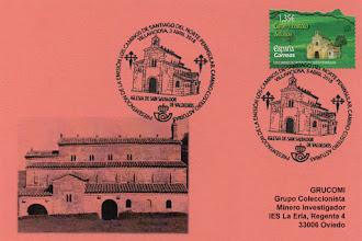 Photo: Tarjeta del matasellos de presentación del sello del Camino de Santiago del Norte dedicado al conventín de Valdediós