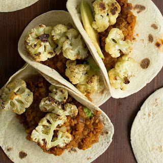 Roasted Cauliflower Tacos with Spicy Lentils, Golden Sultanas and Avocado {Vegan}