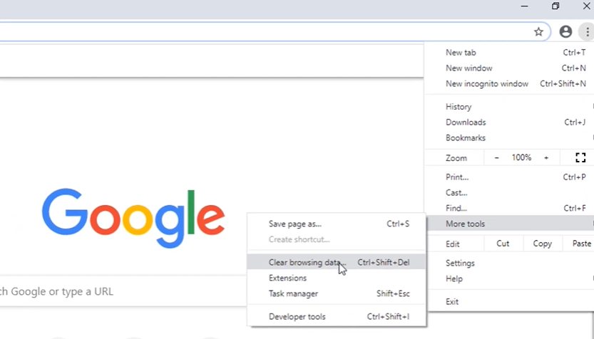 """click on """"More Tools"""" and then select """"Clear Browsing Data."""""""