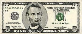 Descrição: Nota americana de cinco dólares