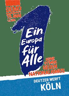 Grafik: Eine Eins auf schrägem Sockel. «Demo 19. Mai 12 Uhr. Ein Europa für Alle. Deine Stimme gegen Nationalismus. Deutzer Werft Köln».