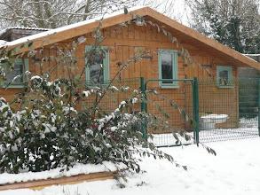 Photo: Notre chalet sous la neige.