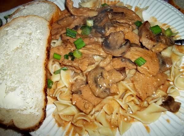 Pork Scallopine W/ Mushrooms Over Noodles