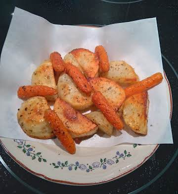 Marjoram Roasted Potatoes and Baby Carrots