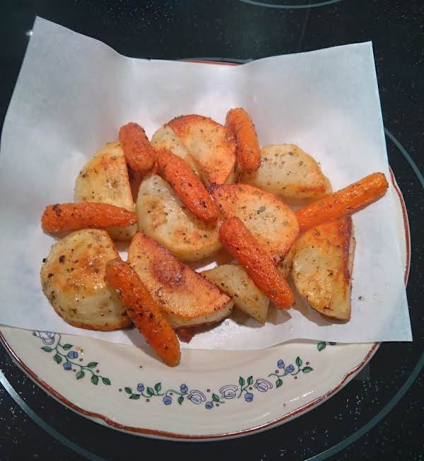 Marjoram Roasted Potatoes And Baby Carrots. An Easy Dish That's A Great Side For Any Meal.