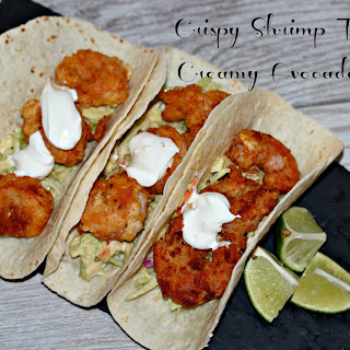 Crispy Shrimp Tacos with Creamy Avocado Slaw
