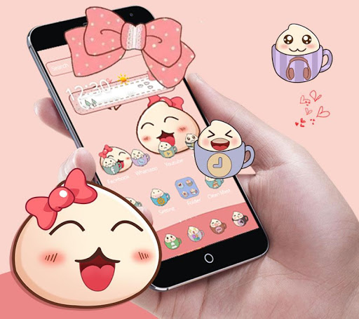 Cartoon Lovely Peach Expression Theme 1.1.4 screenshots 1