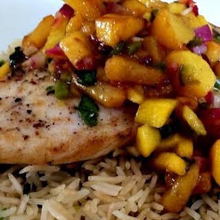 Pan Seared Chicken - With Mango Peach Salsa & Cilantro Lime Rice.