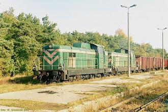 Photo: SM42-186 & SM42-457 ze składem ładownych węglarek do EC Toruń Zachód {Toruń Północny; 2003-10-27}